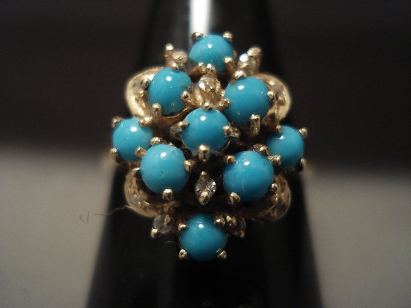 Cute Cute Vintage 14k Gold Turquoise Snake Eye Ring
