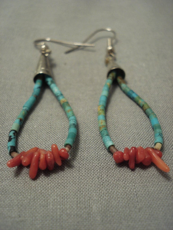 Cute! Mini Turquoise Heishi Vintage Navajo Coral Sterling Native American Jewelry Silver Jacla Earrings-Nativo Arts