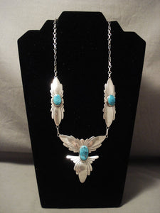 Cute Vintage Navajo Fabulous Native American Jewelry Silver Wings Turquoise Necklace Old-Nativo Arts