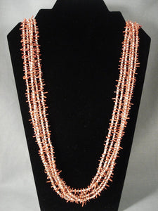 Cute Vintage Navajo Native American Jewelry jewelry Coral Necklace-Nativo Arts