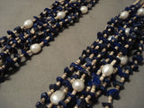 Cute Vintage Navajo Native American Jewelry jewelry Lapis Fresh Water Pearl Necklace-Nativo Arts