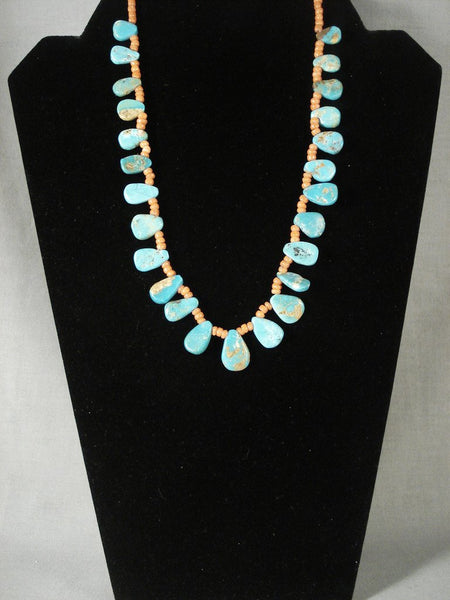 Cute Vintage Navajo Native American Jewelry jewelry 'Tears Of Joy' Turquoise Coral Necklace