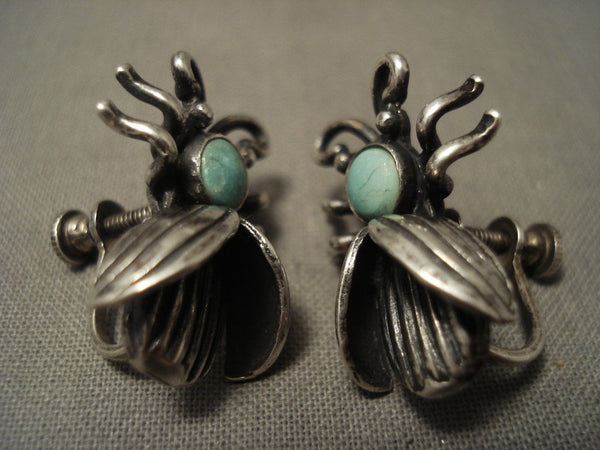 Cute Vintage Navajo Snake Yees Turquoise Native American Jewelry Silver Bug Earrings