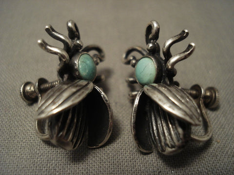 Cute Vintage Navajo Snake Yees Turquoise Native American Jewelry Silver Bug Earrings-Nativo Arts