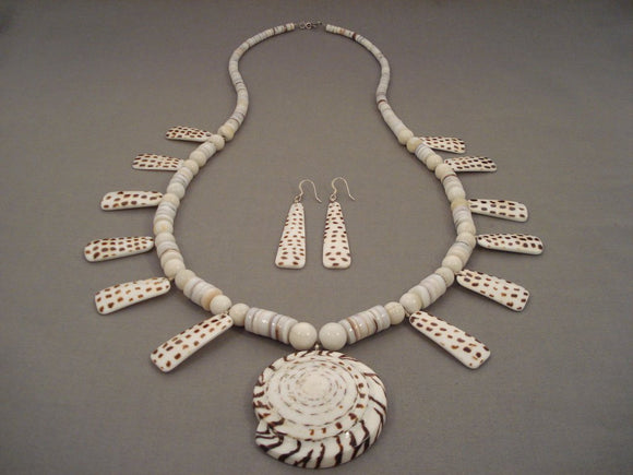 Cute Vintage Santo Domingo 'Swirl Shell' Dotted Necklace And Earrings-Nativo Arts