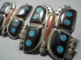 Cute Vintage Zuni/ Navajo Turquoise Sterling Native American Jewelry Silver Coral Earrings Old-Nativo Arts
