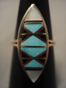 Cute Vintage Zuni Solid 14k Gold Turquoise Ring Old-Nativo Arts