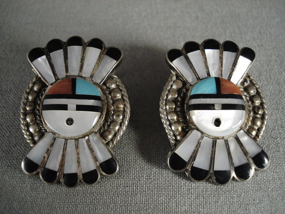 Cute Vintage Zuni Turquoise Coral Native American Jewelry Silver Sun Earrings-Nativo Arts