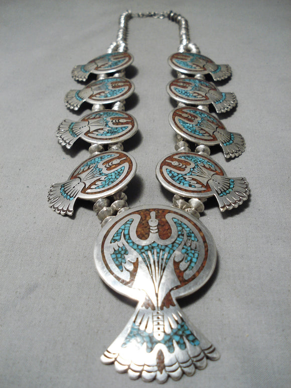 Detailed Vintage Native American Navajo Turquoise Coral Sterling Silver Squash Blossom Necklace