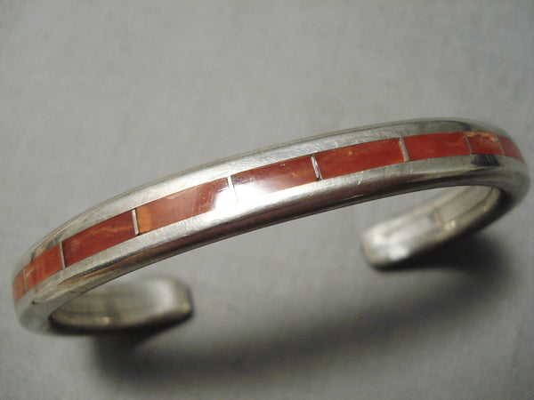 Thicker Heavy Vintage Zuni Coral Sterling Silver Native American Bracelet