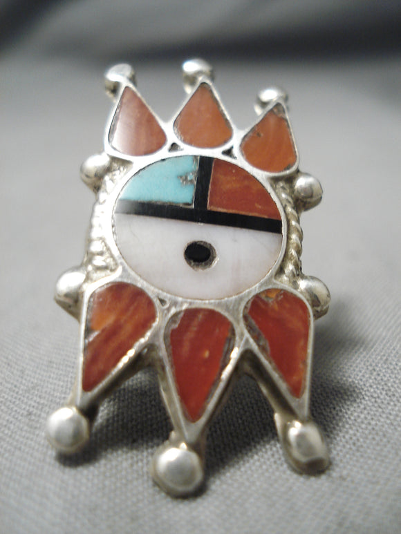 One Of The Best Vintage Native American Zuni Turquoise Coral Sterling Silver Native Ring Old