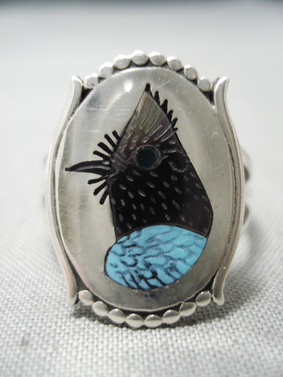 Important Blue Bird Zuni Turquoise Sterling Silver Native American Ring