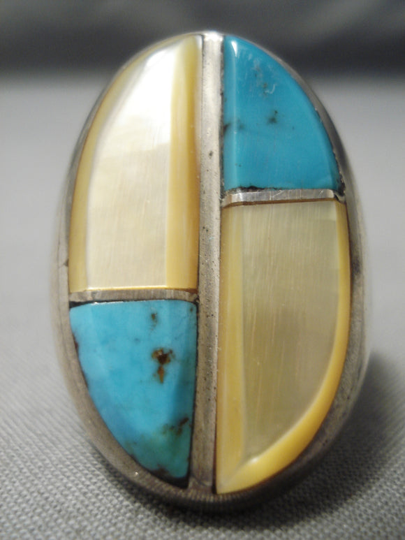 Exceptional Vintage Native American Navajo Turquoise Heavy Pearl Sterling Silver Ring Old