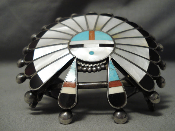 One Of The Biggest Ever Vintage Native American Zuni Turquoise Coral Sterling Silver Bracelet