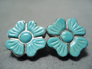 Native American Exquisite Vintage Zuni Blue Gem Florals Sterling Silver Earrings
