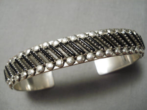 Rare Slanted Needle Jet Sterling Silver Zuni Native American Bracelet