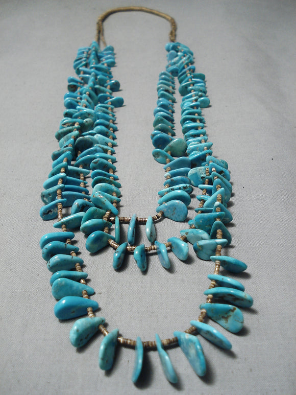 Impressive Vintage Navajo Turquoise Heishi Necklace Native American