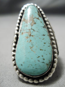 Quality Vintage Native American Navajo Tear Of Joy Sterling Silver Turquoise Ring