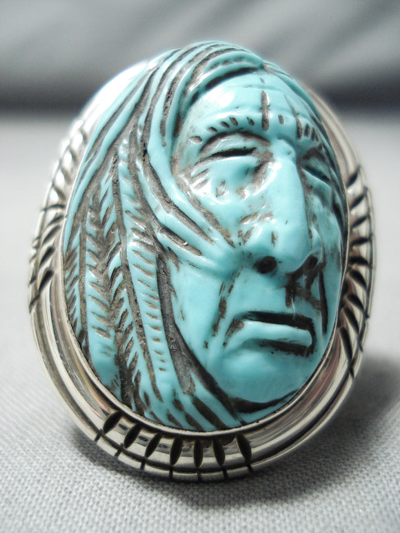 Native American Important Frnacisco Gomez Sterling Silver Hand Carved Turquoise Ring