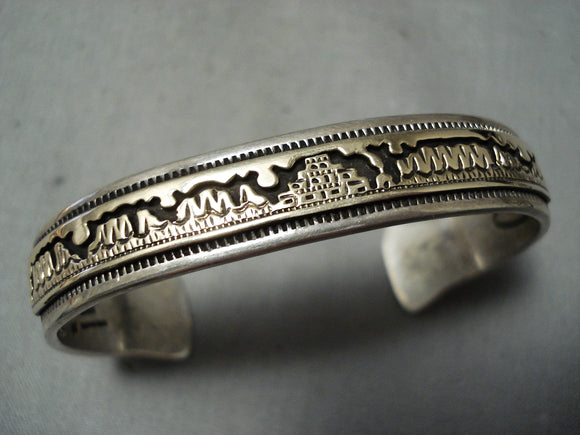 Thick Hand Tooled Vintage Native American Navajo Gold Pueblo Sterling Silver Bracelet
