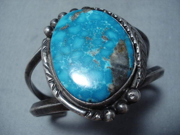 Rare Vintage Native American Navajo Carico Lake Turquoise Sterling Silver Bracelet Old