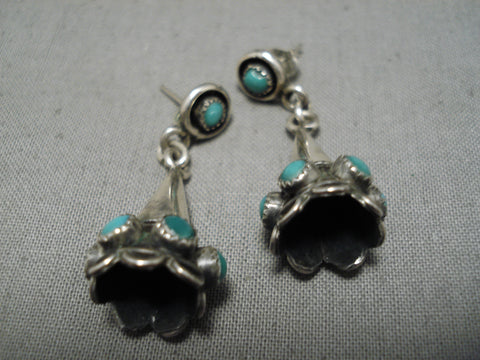 Extremely Rare Vintage Native American Navajo Snake Eyes Turquoise Sterling Silver Cone Earrings