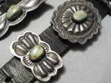 Important Vintage Native American Navajo Royston Turquoise Sterling Silver Concho Belt Old