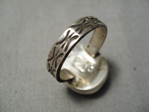 Vivid Yellow Native American Navajo Sterling Silver Stamped Ring