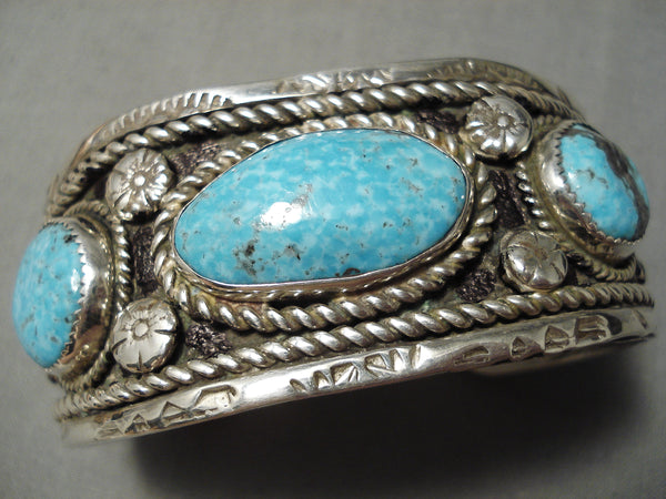 Huge Heavy Vintage Native American Navajo Carico Lake Turquoise Sterling Silver Bracelet Old