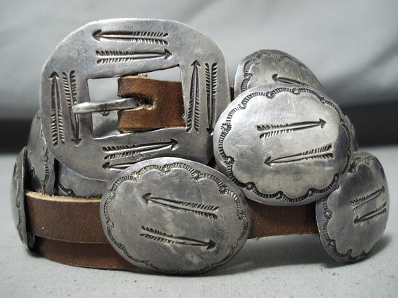 Detailed Early Vintage Native American Navajo Sterling Silver Arrow Concho Belt Old