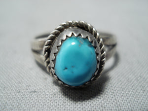 Wonderful Vintage Navajo Turquoise Sterling Silver Ring Native American Old