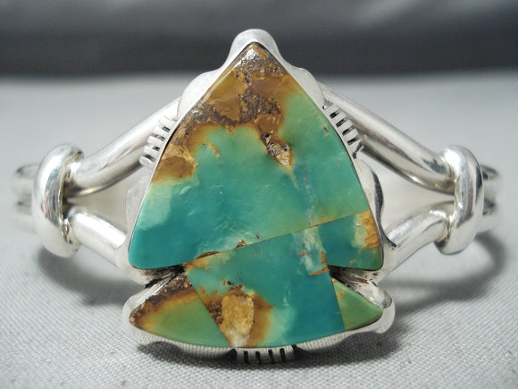 Striking Navajo Royston Turquoise Sterling Silver Bracelet Native American