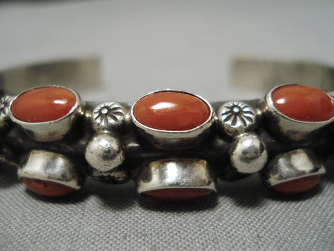 Important Vintage Native American Navajo Domed Coral Sterling Silver Heavy Bracelet Old