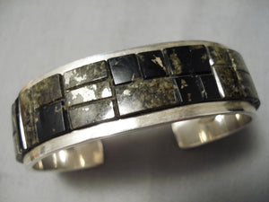 One Of Best Vintage Native American Navajo Tommy Jackson Sterling Silver Inlay Bracelet