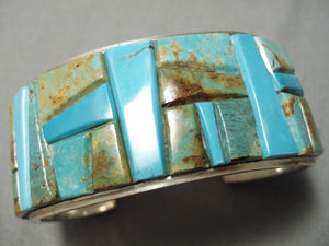 Superior Vintage Native American Navajo Yazzie Family Turquoise Inlay Sterling Silver Bracelet