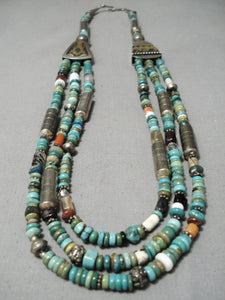 Best Vintage Native American Navajo Thomas Singer Royston Turquoise Sterling Silver Necklace