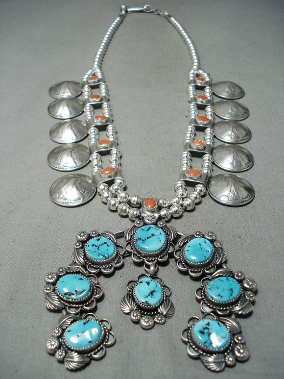 Native American 286 Grams Women's Turquosie Coral Sterling Silver Squash Blossom Necklace