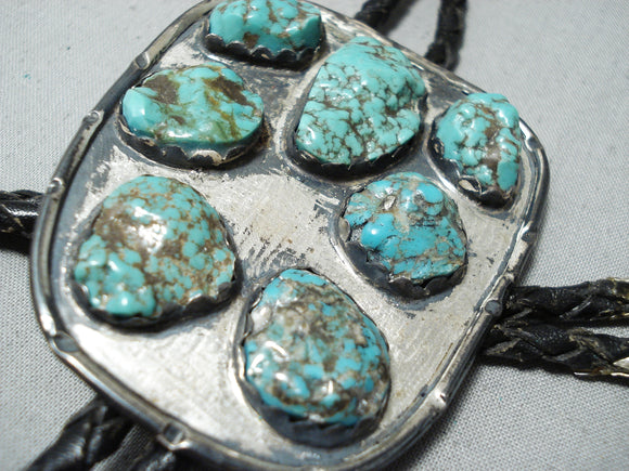 Chunky Dunky Green Spiderweb Turquoise Vintage Native American Navajo Sterling Silver Bolo Tie