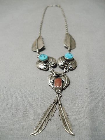 Detailed!! Vintage Native American Navajo Turquoise Coral Sterling Silver Leaf Necklace Old