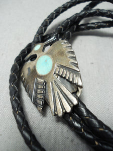 Interesting Vintage Native American Navajo Turquoise Sterling Silver Bolo Tie Old
