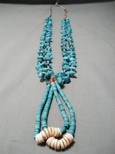 Amazing Vintage Navajo Persin Turquoise Nugget Native American Necklace Old