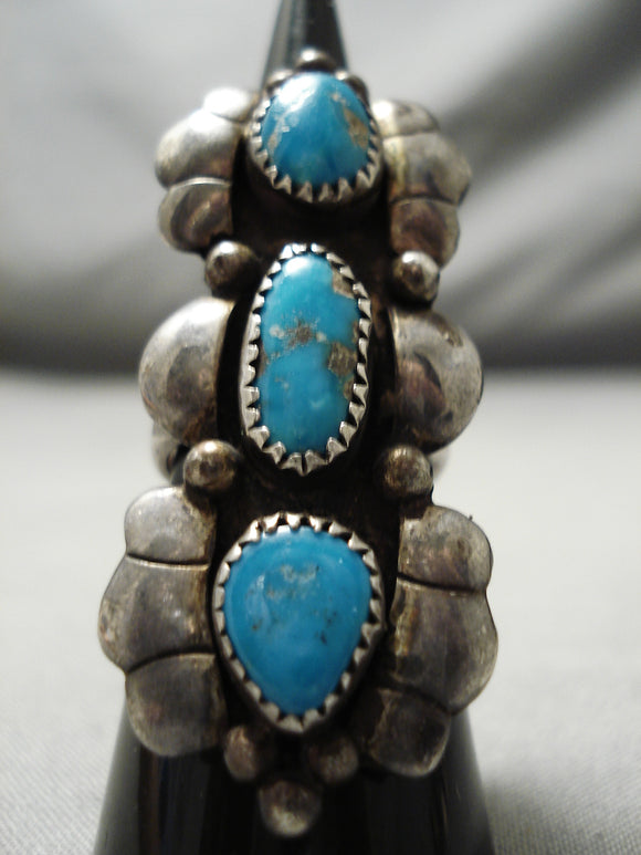 Remarkable Vintage Native American Navajo 3 Tier Turquoise Sterling Silver Ring Old