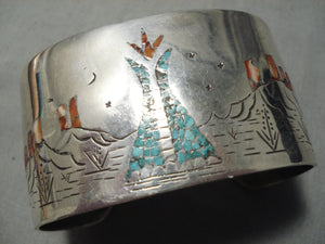 Native American Heavy Vintage Teepee Love Turquoise Coral Sterling Silver Bracelet Old