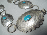 Amazing Vintage Native American Navajo Blue Gem Turquoise Sterling Silver Concho Belt Old