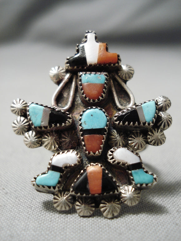 Amazing Detail Vintage Zuni Native American Turquoise Coral Sterling Silver Ring