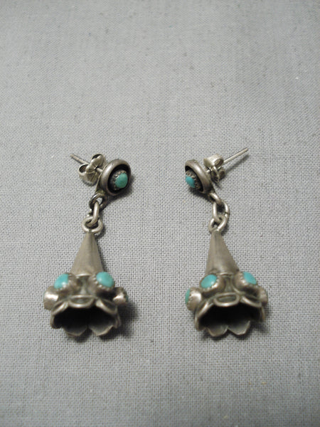 Impressive Vintage Native American Navajo Sterling Silver Flute Turquoise Earrings Old