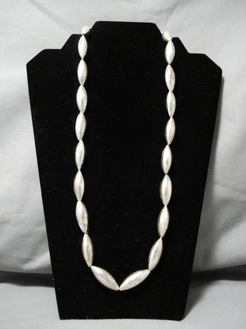 Best Vintage Native American Navajo Footbal Bead Sterling Silver Hand Wrought Necklace Old
