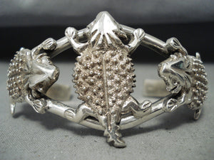 Fabulous Important Native American Navajo Signed Sterling Silver Toads Bracelet
