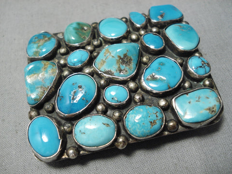 Thick Chunky Turquoise Vintage Native American Navajo Hand Tooled Sterling Silver Buckle Old