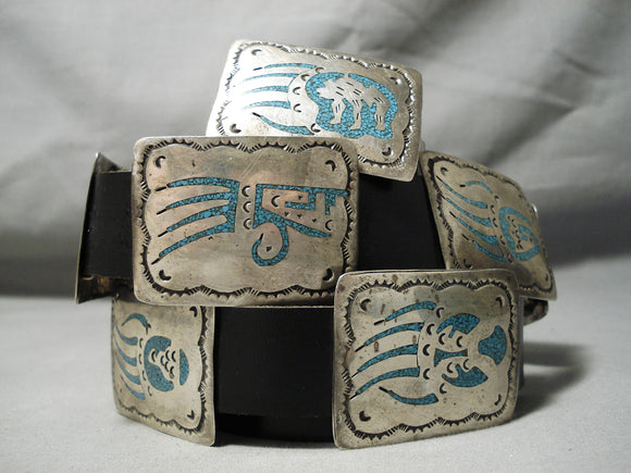 One Of The Best Vintage Native American Navajo Sterling Silver Turquoise Concho Belt